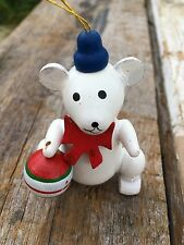 Vintage Retro Wooden Wood Teddy Bear Christmas Tree Decorations