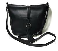 NWT $158 SANCTUARY Black Pebble Leather Cornereo Crossbody Handbag S1575