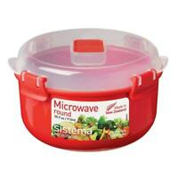 Sistema Microwave Round Container Bowl with Klip It Clear Vent Lid, 915 ml - Red
