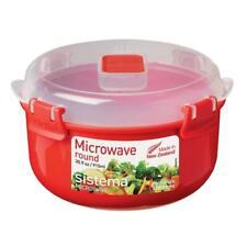 Sistema Recipiente Tazón redondo de microondas con tapa de ventilación Klip claro, 915 Ml-Rojo