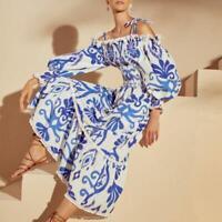 Women's 2021 Vogue Printed Puff Sleeve Off Shoulder Flared Long Beach Dress SKGB
