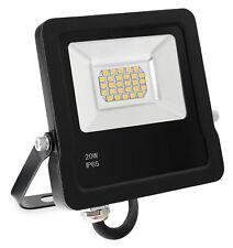 LED Außen Fluter Flutlicht Strahler Outdoor 4500K wasserdicht flach schwarz 20W