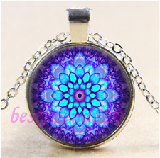 Mandala Flower Photo Cabochon Glass Tibet Silver Chain Pendant Necklace#CEA