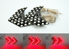 2x Universal Side Mirror Sequential Arrow Red 27 SMD LED Panel Turn Signal Light