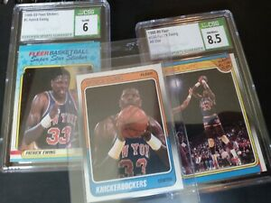 1988-89 Fleer Patrick Ewing Lot CSA 8.5 (Allstr) CSA 6 (stick), and Raw (base)