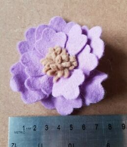 Handmade felt brooch - purple flower with frilly centre