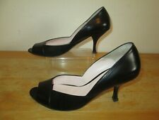 RUSSELL & BROMLEY Black Leather & Suede Peep Toe Court Shoes UK Size 4 EU 37