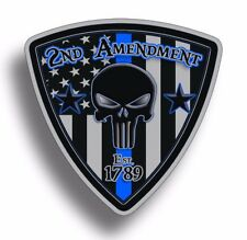 2nd Amendment Punisher Skull Sticker USA Blue Line BTB Police Decal Second 2A