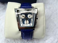 Corum JumboTrapeze Wrist Watch for Men - Stainless with Silver Dial, Blue Band