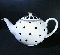 "Grace's Teaware White Black Polka Dots Teapot Gold Knob w/Lid ~5 3/4"" Tall"