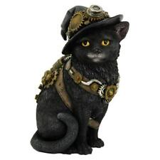 Clockwork Kitty 16.5cm Steampunk Black Cat in a hat Figurine Gothic Pet Ornament