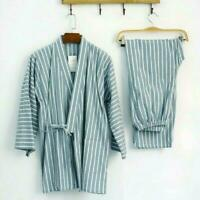 Men's Japanese Kimono Pajama Sets Long Pants Striped Cotton Sleep Nightwear Hot