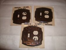 Vintage 60-70's Spanish Style Toggle Switch & Plug Plate Simulated Wood lot of 3
