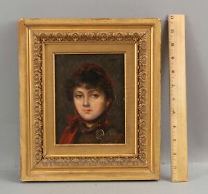 Small 19thC Antique FRANCISQUE BERTIER French Portrait Oil Painting of a Woman