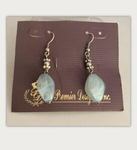 Premier Designs AUSTIN Silver Plated Light Blue Beads Earrings