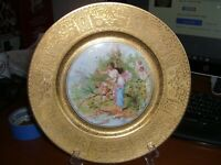 "BOHEMIA MADE IN CZECHOSLOVAKIA GOLD RIMMED HAND PAINTED PLATE 10 3/4"" (#2)"