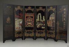 CHINESE OLD LACQUER HANDWORK PAINTING BEIJING SCENERY SCREEN DECORATION