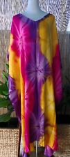 Plus Size Long Purple- Pink- Yellow Tie Dye Maxi Kaftan -Dress Size 20-22-24-26