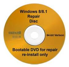 Windows 8.1 Pro 64 Bit Recovery Repair Restore Boot Disc Full Re Install DVD