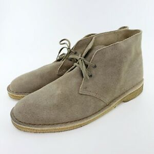 Clarks Originals Desert Boot, Taupe Distressed Suede, Mens Size 13 Wide