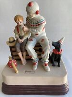 """VTG 1985 """" The Runaway """" Clown by Norman Rockwell Figurine Music Box WORKS"""