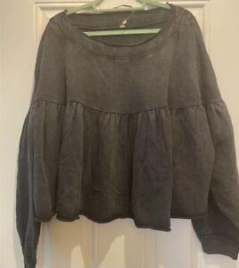 Free People Peplum Jumper Sweatshirt Washed Black XS UK 6 Oversized BNWOT New