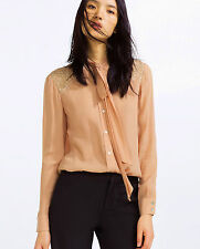 ZARA NUDE/PEACH LONG SLEEVE BLOUSE SHIRT WITH CONTRASTING LACE DETAIL SIZE XS