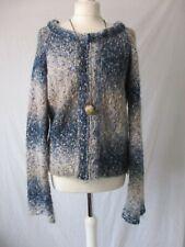 Per Una Seascape ALPACA Mohair Blend BOHO Zipped Knitted Cardigan Jacket 12 14