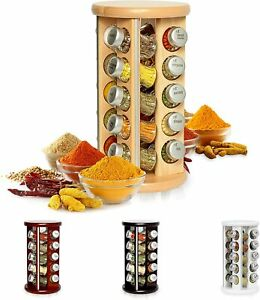 Wooden Spice Rack with Spices Included | Rotating Organiser Handmade 20 Jars New