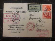1927 Vienna Austria First Flight Postcard Cover Ffc To Gleiwitz Germany