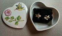 White Porcelain Heart Trinket Box W/Hummingbird Hibiscus and Earing set goldtone