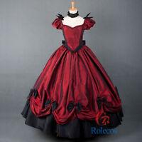 Women Victorian Edwardian Vintage Wine Ball Party Dress Cosplay Costume Fancy