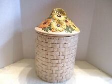 Cookie Jar with Lid Beige Ceramic Basket Weave With Yellow/Orange Daisy