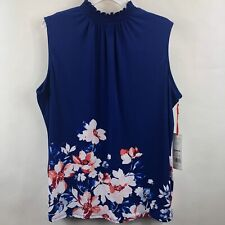 Elle Smock Neck Tank Top Blouse Womens Small Navy Blue Pink Floral