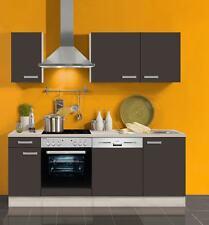 Küchenblock ohne Elektrogeräte Faro 210 cm in Anthrazit mit Edelstahl Spüle