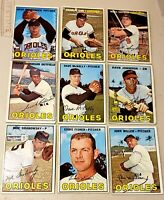 Lot of 9 1967 Topps ORIOLES vintage baseball cards. FRANK ROBINSON, Dave McNally