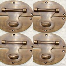 "4 large heavy HASP & STAPLE 5"" OVAL catch latch box door solid brass"
