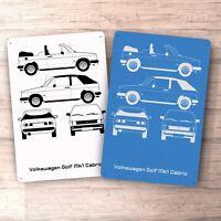 VW Golf Mk1 Cabrio  Blueprint Aluminium Sign