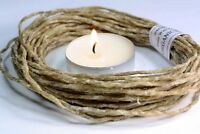 WAXED HEMP WICK -TWINE   Organic bees wax Crafts -candle wick holds flame-