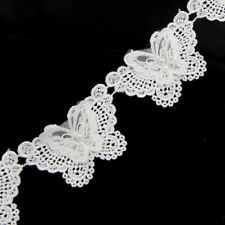 2 Yard Butterfly Pearl Lace Edge Trim Wedding Dress Ribbon Applique Sewing DIY