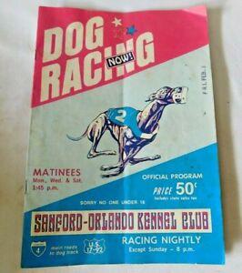 Vintage 1978 DOG RACING NOW Sanford-Orlando Kennel Cllub Magazine PROGRAM
