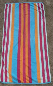 Ralph Lauren Home 32 x 60 Vintage Beach Bath Towel Orange Blue Pink Stripe Polo