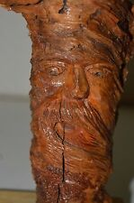 Nice Hand Carved Artist Wooden FACE Old Man Head Natural Signed Sculpture 1998