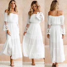 Womens Holiday Off Shoulder Lace Maxi Dress Ladies Boho Summer Beach Long Dress