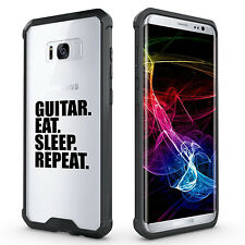 For Samsung S7 Edge S8 + Clear Shockproof Bumper Case Guitar Eat Sleep Repeat