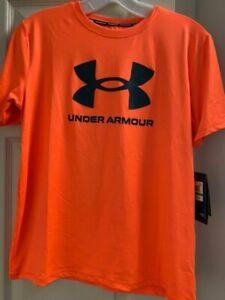 NWT Under Armour Boy's Large Big Logo Orange Surf Swim Shirt Short Sleeve