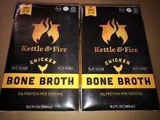 2 Packs KETTLE & FIRE ORGANIC CHICKEN  BONE BROTH Paleo and Collagen **FRESH**