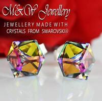 925 Silver Stud Earrings Crystals From Swarovski® CUBE Vitrail Medium 6mm