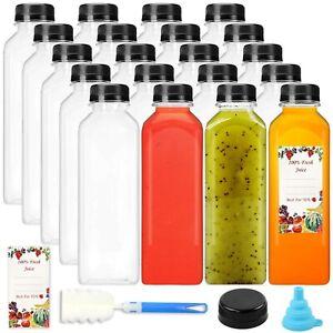 20pcs 16oz Empty Plastic Juice Bottles with caps, Reusable Clear Bulk Beverag...