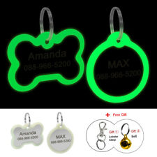 Fluorescent Bone/Round Pet Puppy Dog Tags Personalised No Noise with Silencer